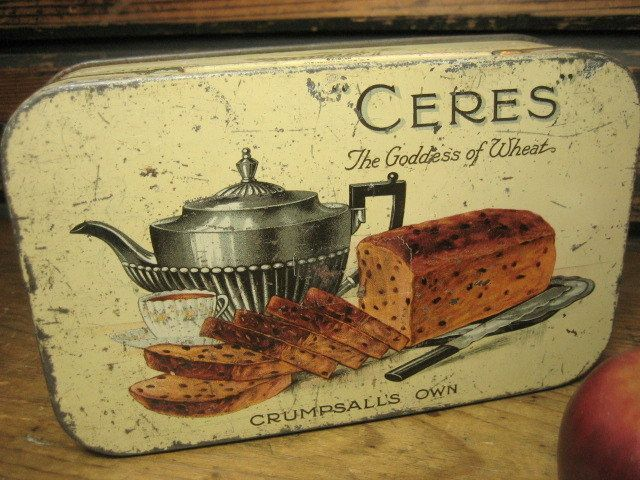 Charming Old `CERES' Biscuit Tin Made In Crumpsall, England Great Advertising.