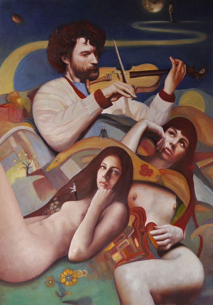 """Andrea Esposito, """"Il violinista e altri racconti"""", olio su tela, 100x70cm, 2015"""
