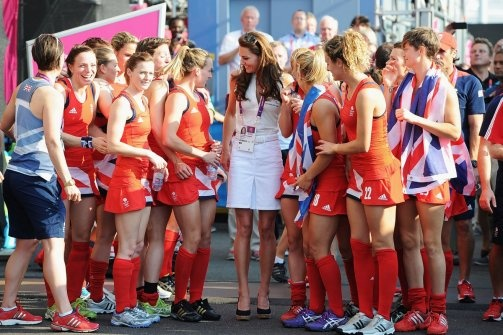 Kate Middleton watched the Team GB women's hockey team grab a bronze.