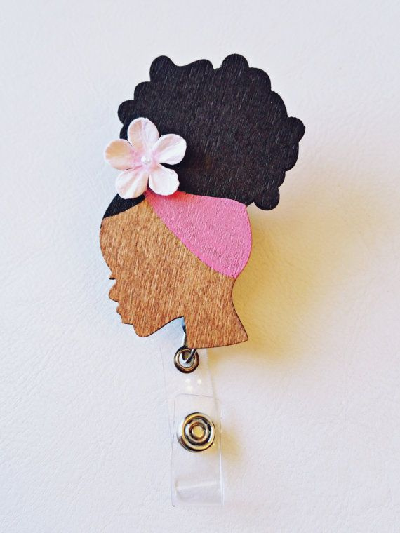 ID BADGE REEL Retractable Holder Hand Painted by ReflectionsbyZana