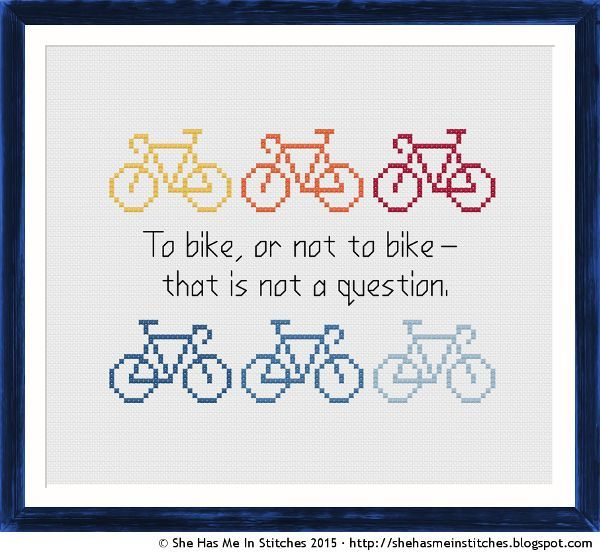 Bike Love! ❤ Free Cross Stitch Pattern To bike, or not to bike ...
