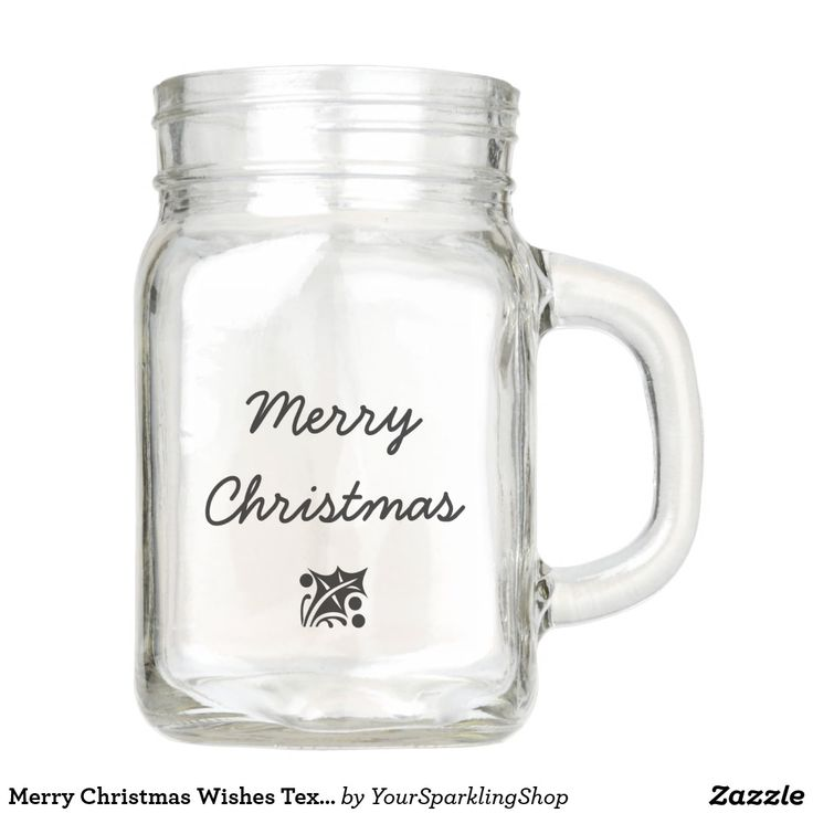 Merry Christmas Wishes Text Mason Jar