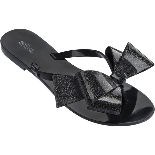 Melissa Harmonic Gift Bow Black Glitter ($62) ❤ liked on Polyvore featuring shoes, sandals, flip flops, bow flip flops, glitter flip flops, sparkly flip flops, black flip flops and melissa flip flops