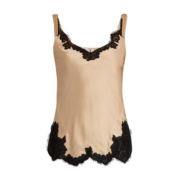 Helmut Lang Lace-trimmed satin cami top ($380) ❤ liked on Polyvore featuring tops, nude, beige tank top, satin tank, nude tank top, lace trim camisole and camisole tops