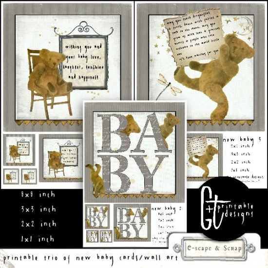 GTPD PRINTABLE TRIO OF NEW BABY CARDS/WALL ART