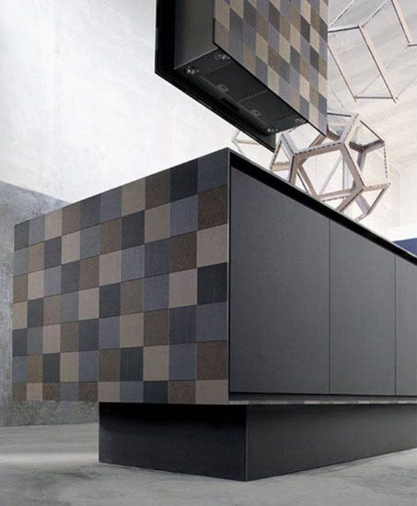 Kitchen:Side Part Of Recycled Eco Friendly Kitchen Island Worktop Cooking Paper Bordered The Counter Top Harmonious Assorted Color Square Mo...