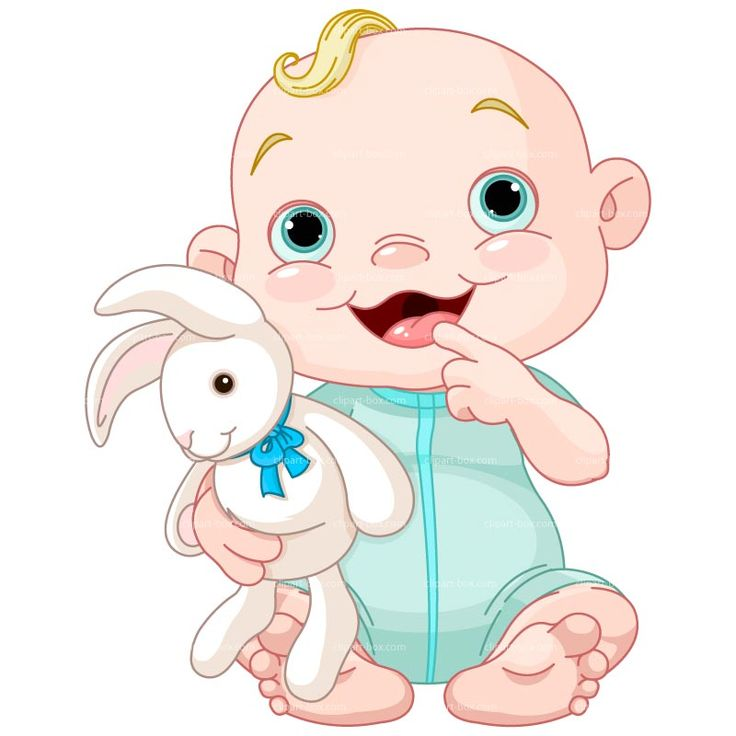 CLIPART BABY BOY WITH RABBIT | Royalty free vector design