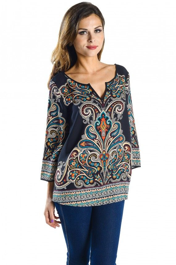 Floral Paisley Border Print Blouse, Flared Sleeve Top with Notched V Neckline #WholesaleApparel #WomensFashion #WomensApparel #WholesaleClothinginLosAngeles #WholesaleFashion #FashionBoutique #WholesaleFashionTOPS #WholesaleFashionBoutique www.PinkOwlApparel.com