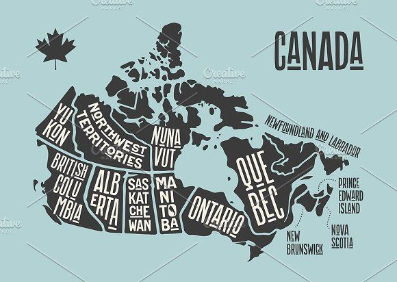 Canada Map Poster Map Canada. Poster map of provinces | Map poster, Canada map, Map