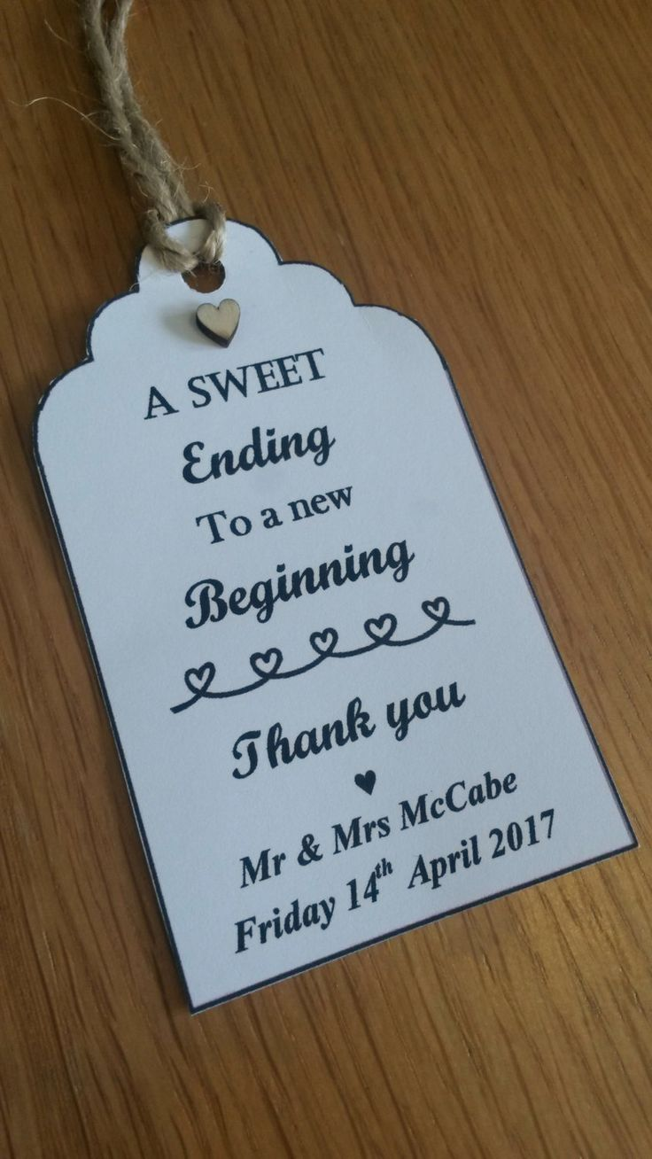 Wedding Favor Tags - A Sweet Ending to a New Beginning - Thank you/Candy Cart/Sweet Tags by ClassyCraftsByZoe on Etsyhttps://www.etsy.com/uk/listing/281042710/wedding-favor-tags-a-sweet-ending-to-a