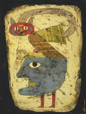 L' Archechat (The Arch-cat) | encaustic, pen and ink  drawing, 1948 | Victor Brauner ------- Kresge Art Museum at MSU