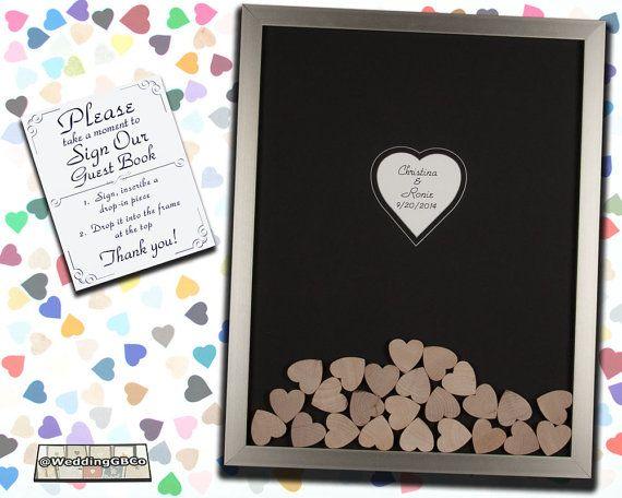 Unique Wedding Guest Book Alternative Wood Drop In Top Heart Frame Wedding Guestbook Shadow Box Idea