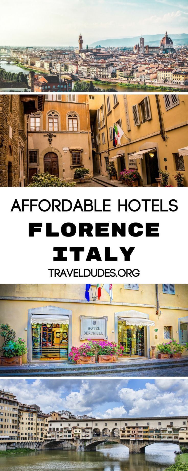 A guide to the best affordable hotels in Florence, Italy. Centrally located and close to all of the best things to do in the city, these hotels tick all the boxes. They are affordable, but still chic, close to restaurants and other must-see sites. Travel in Europe. | Travel Dudes Travel Community #Florence #Italy
