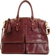 "When I first saw this on the Dooney & Bourke website, & then on the QVC website, I had no idea it was going to become The Bag of the Year. I simply became obsessed with it, first in a burnt orange then in an equestrian dark brown finally settling on what they call ""crimson,"" really a calves blood àla the old Etienne Aigner color. Which too bad, because it has been featured on the editorial pages of several rag mags. I am lost."