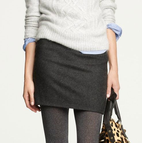 I love the dark grey skirt with the lighter grey wool leggings. (I'm already having ideas on this look)