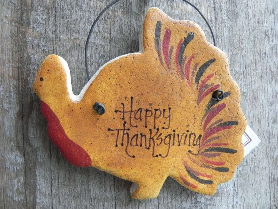 This listing is for Thanksgiving turkey salt dough ornament. Hes been completely handcrafted by me and is inscribed with, Happy Thanksgiving