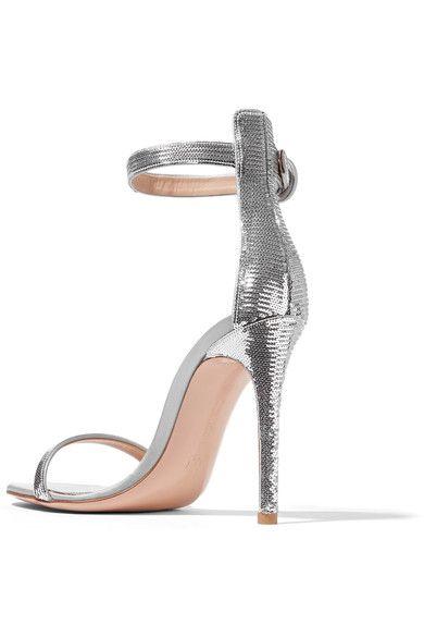 Gianvito Rossi - Portofino Sequined Satin Sandals - Silver - IT40.5