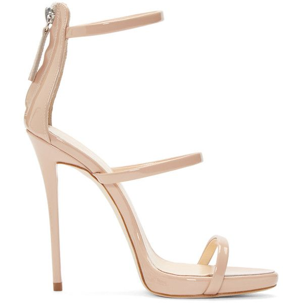 Giuseppe Zanotti Pink Coline Heeled Sandals (27,420 THB) ❤ liked on Polyvore featuring shoes, sandals, heels, giuseppe zanotti, sapatos, vernice blush, patent leather sandals, strappy sandals, pink heel sandals and high heel sandals