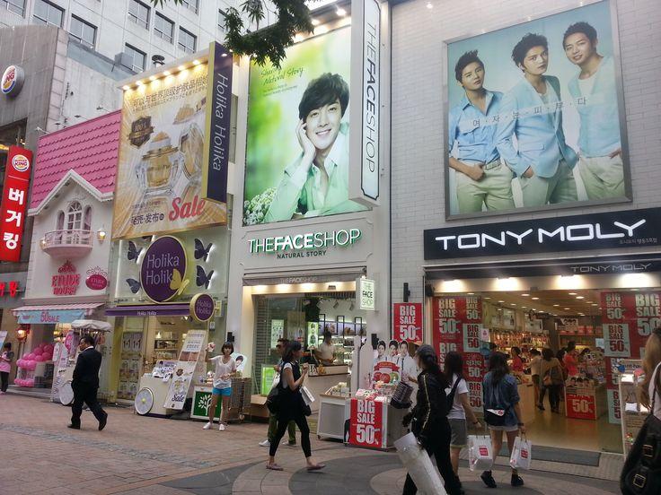 Beauty product shops at every corner in Myeong-dong, Seoul. #TheFaceShop #TonyMoly #Etude #HolikaHolika