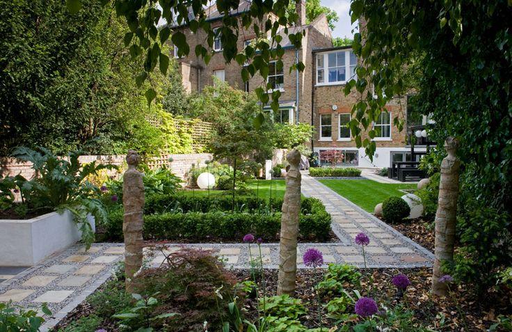Modern Japanese garden towards house Garden Design North London