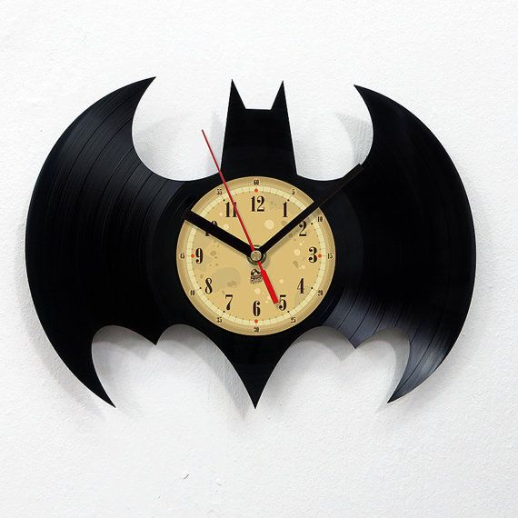 Vinyl Record Clock - Batman. Vinyl Eaters is an upcycling product made from old vinyl records. Cool gift ideas for music lovers. on Etsy, $30.24 CAD