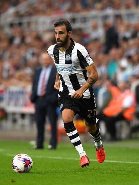 Newcastle player Jesus Gamez in action during the EFL Cup Round Two match…