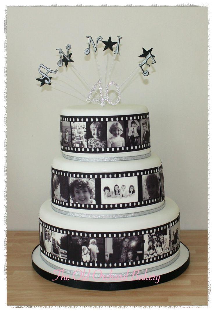 Photo film strip cake 3 tier 40th birthday cake with for 40th birthday cake decoration