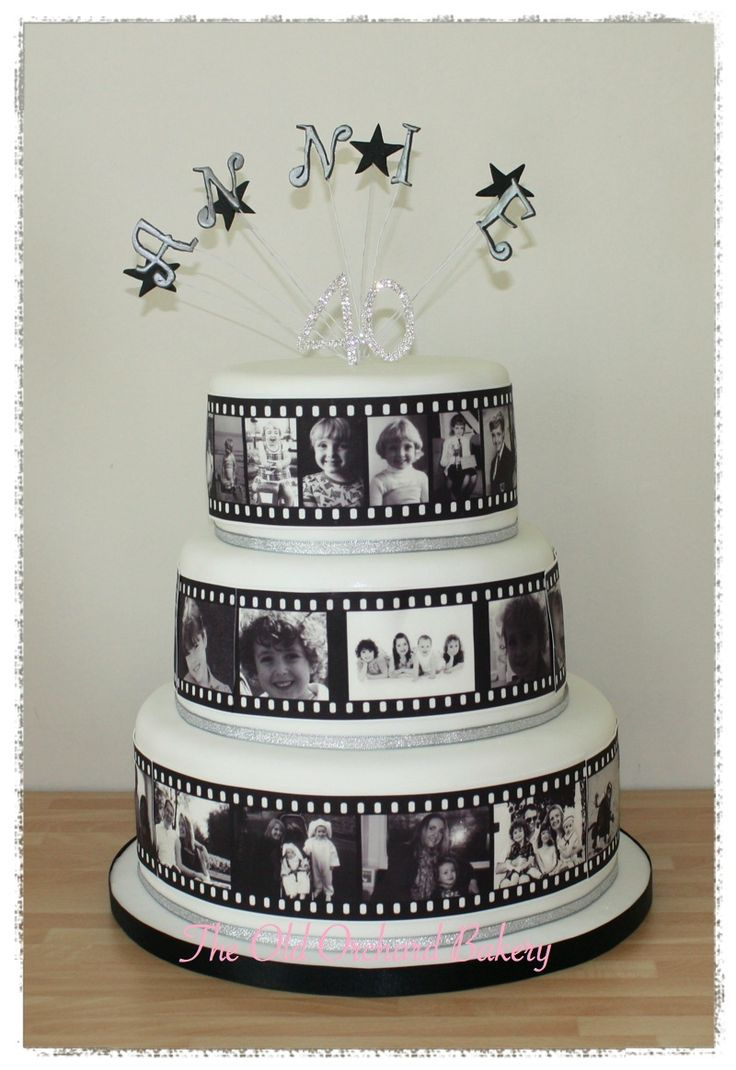 Photo Film Strip cake. 3 tier 40th Birthday cake with edible photos making up a film strip going round the sides of the cakes.