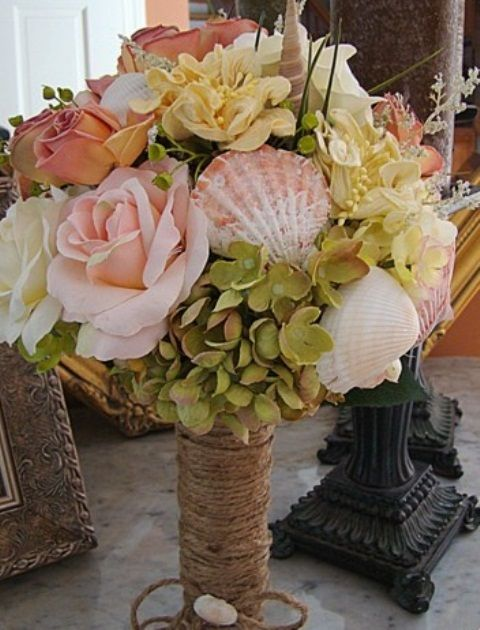 Beach Wedding Bouquet And Boutonniere Sea Shells Nautical