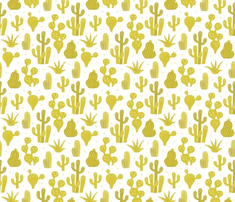 Cactus garden and succulent cacti plants for summer cool scandinavian style gender neutral mustard yellow - Cactus wallpaper and fabric available via Spoonflower designed by Little Smilemakers Studio