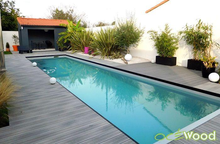 Plage de piscine composite style bord de mer moderne for Mini piscine miroir
