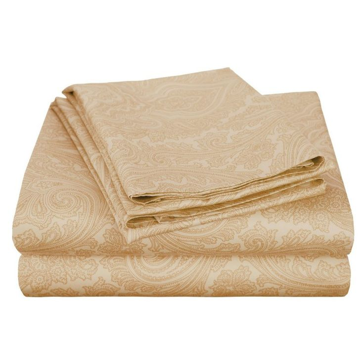 Superior Cotton Rich 600TC Italian Paisley Sheet Set Sand - CR600CKSH IPSD