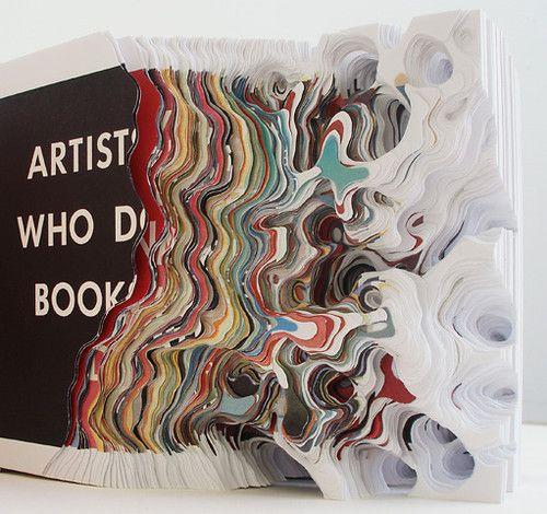 Artists who make pieces, Artists who do books (detail)Alteredbook, Noriko Ambs, Book Sculpture, Cut Paper Art, Paper Sculpture, Art Installations, Artists Book, Book Series, Altered Book