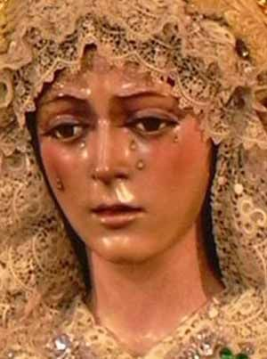 Our Lady of Sorrows (La Macarena) is considered  the most perfect representation of the Madonna.  It is located in Sevilla Cathedral along with the remains of Christopher Columbus.