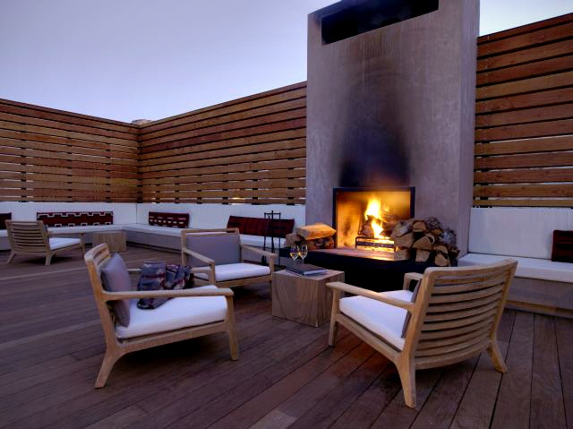Relaxing fireplace patio