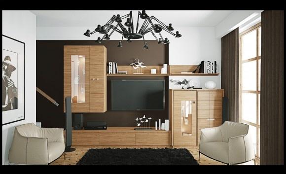 Livinguri moderne (5): Modern Living Rooms, Living Rooms Design, Designinterior Decor, Modern Rooms, Interiors Design, Brown White, Rooms Ideas, White Black, Black Lounges