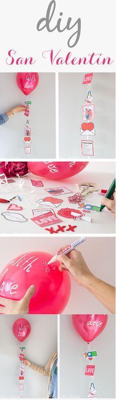 DIY San Valentín. Globo con recuerdos, fotos, mensajes. #diysanvalentin…