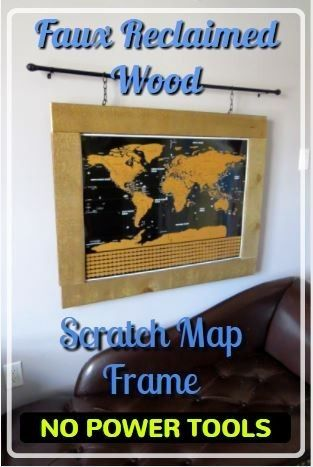This step-by-step will show you how to make Hanging Faux Reclaimed Wood Scratch Map Frame with no power tools. Barn wood can give your room a fantastic rustic look. Faux Barn Board or reclaimed wood is now available at many lumber yards.