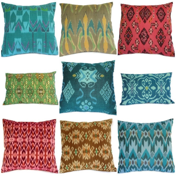 Ikat pillow teal coral yellow set of 9 16x16 12x18 by for 16x16 kitchen designs