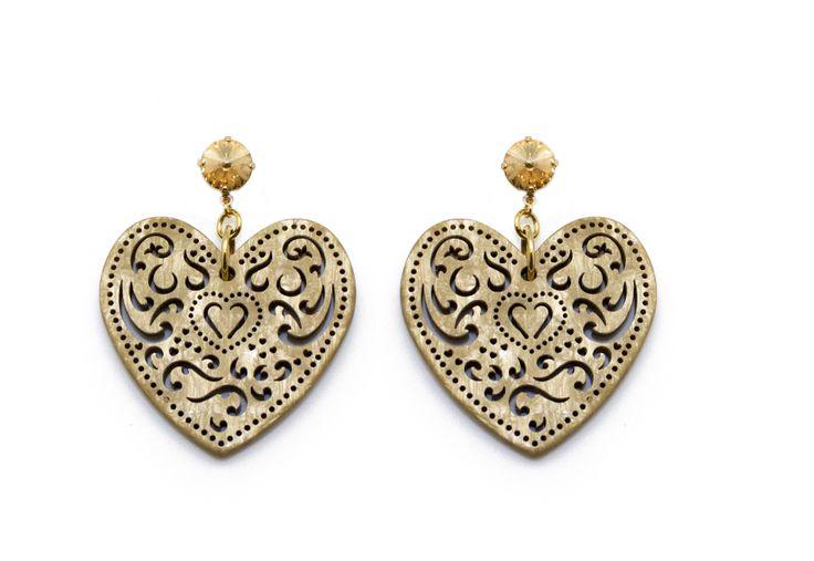 Orecchini cuore Paviè - produzione 2011 -  pendente a forma di cuore logo Paviè con toppe cristalli Swarovski