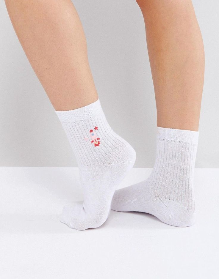 ASOS Rocket Embroidered Ankle Socks - Silver