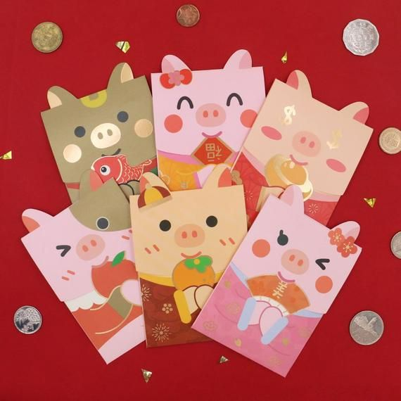 Year Of Pig Chinese Red Packets Cute Red Packets Money Envelopes Cny Piggy Chinese New Year 6 Designs Available Set Of 6