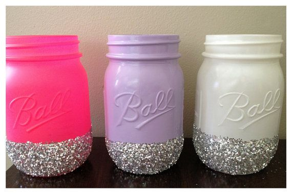 Bright glittery decorative mason jars painted and for Mason jar bookends