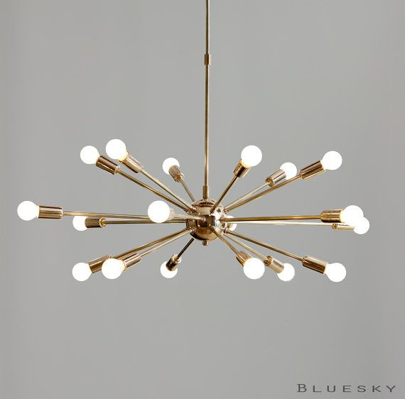Item Code : MNCS12 Beautiful Vintage inspired 18 light arms polished/gold brass sputnik starburst chandelier for your living room, dining room, hall,