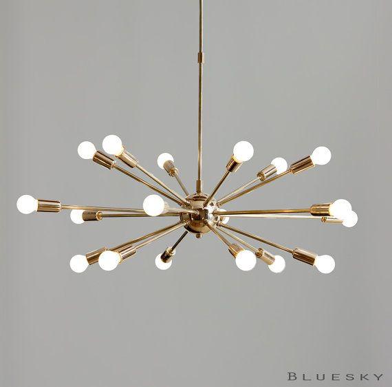 Item Code : MNCS12 Beautiful Vintage inspired 18 light arms polished/gold brass sputnik starburst chandelier for your living room, dining room, hall,