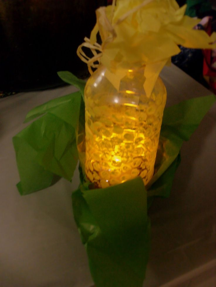 Corn Lantern From Plastic Bottle With Paint Applied By