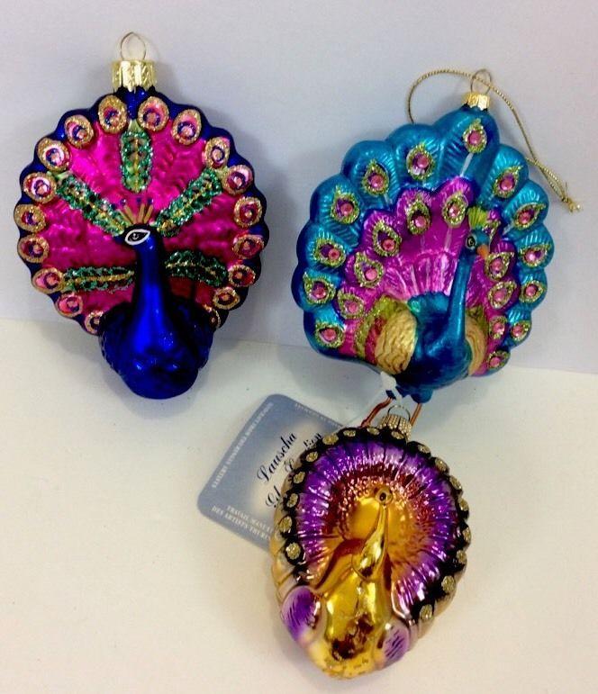 3 Vintage Christmas Peacocks Germany Poland Jeweled Glitter Ornaments Jeweled