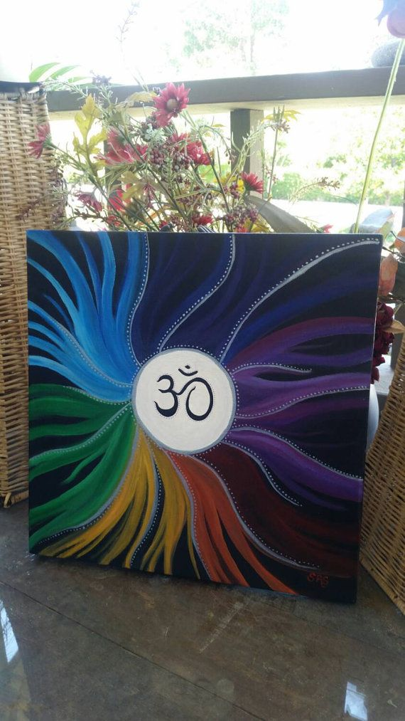 Om 14x14 abstract Chakra art acrylic on canvas by SunStroked