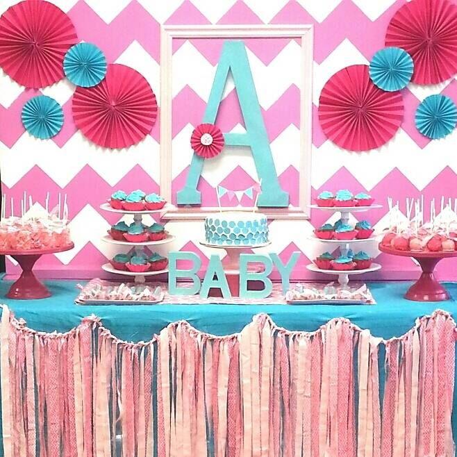 Pink & Aqua Chevron Baby Shower #chevron #pink #itsagirl #sweetstable #babygirl #babyshower #pink #aqua #Californiaparties #partylanddecor
