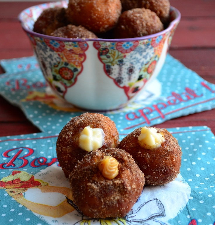 Donut holes for Hanukkah - can fill with pumpkin fluff instead.